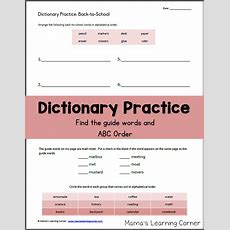 Dictionary Practice Worksheet Backtoschool!  Mamas Learning Corner