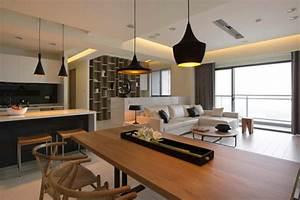 amenager une cuisine ouverte sur salle a manger With salle À manger contemporaine avec cuisine equipee laquee