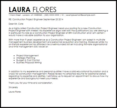 Project Engineer Cover Letter Sle by Construction Project Engineer Cover Letter Sle Livecareer