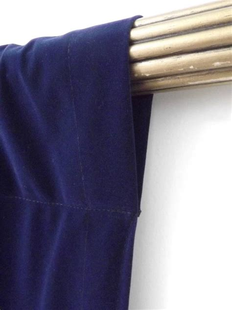 window treatment navy blue rod pocket curtain topper