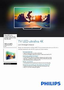 Philips 65pug6412  78 Tv Led Ultrafina 4k Com Ambilight