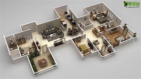 residential bhk floor plan design rendering
