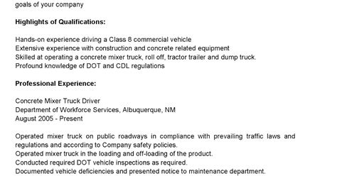 New Truck Driver Resume by Driver Resumes Concrete Mixer Truck Driver Resume Sle