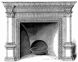 Vintage, Clip, Art, -, Fireplace, Mantels, -, Christmas