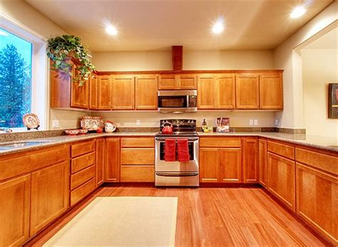 wood kitchen floor matching floor designs with cabinet choices 1141
