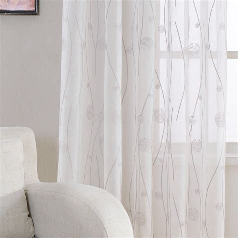 new embroidered white sheer curtains for living room
