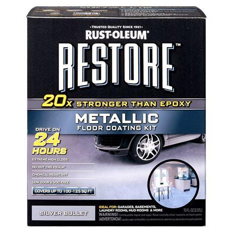 Rustoleum Garage Floor Epoxy Kit by Shop Rust Oleum Restore 2 Part Silver Metallic Gloss