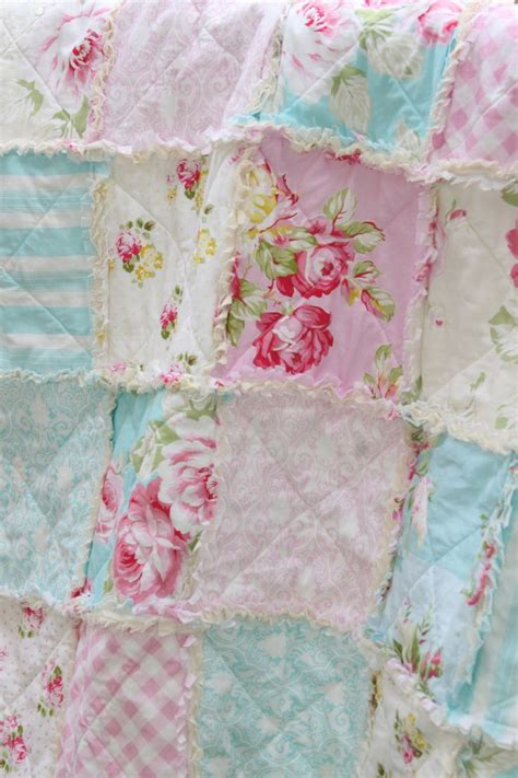 shabby chic quilt crib rag quilt baby girl crib bedding shabby chic nursery sunshine roses pink blue nursery