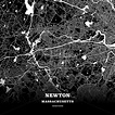 Black map poster template of Newton, Massachusetts, USA ...