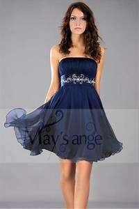 robe de cocktail souplesse et fluidite bleu marine en With robe courte bleu marine