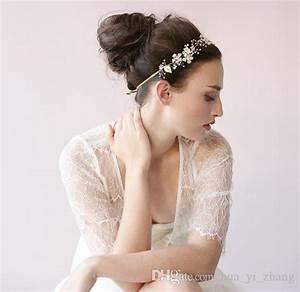 Cheap 2015 Bridal Hair Band Pearls Crystal Hair