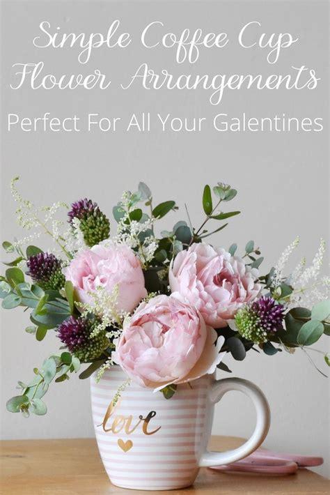 coffee cup flower arrangements valentines