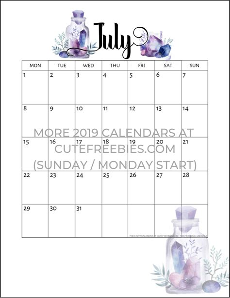 printable calendar crystal gems cute freebies
