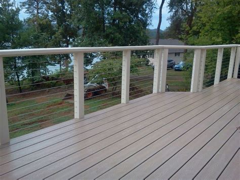wire deck railing white google search outdoor stairs