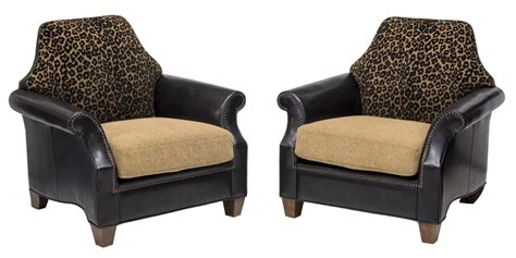 (2) Contemporary Leather & Leopard Print Armchairs
