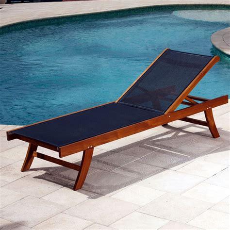 teak sun lounger mesh fabric contemporary outdoor
