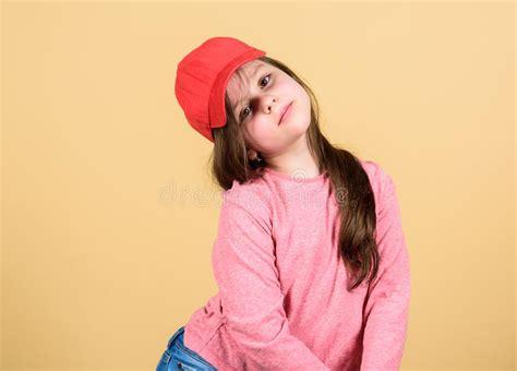stylish girl wearing cap stock photo image  leather