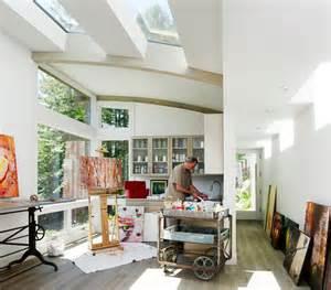 artist studio overlooks guest cabin with rooftop garden - Interior Paint Ideas Home