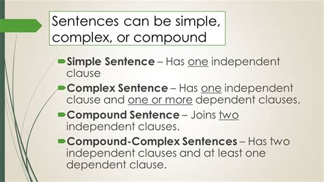 Simple, Complex, & Compound Sentences  Ppt Video Online Download