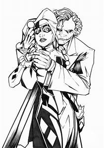Joker And His Lover Harley Quinn Coloring Page NetArt