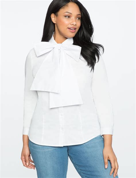 white blouse with bow sleeve bow blouse 39 s plus size tops eloquii