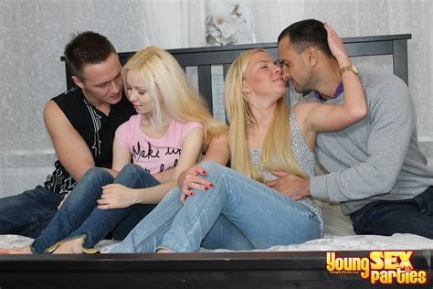 Two Drunk Young Couples Having Hot Sex All Together On A