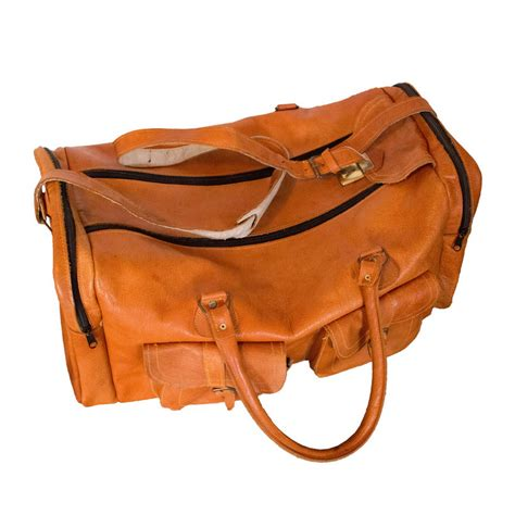 Brown Leather Travel Bag Purse Brown Leather Travel Duffle Bag Mid Century