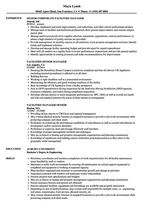 Facilities Manager Senior Resume Samples | Velvet Jobs