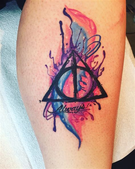 colored deathly hallows symbol  tattoo creativefan
