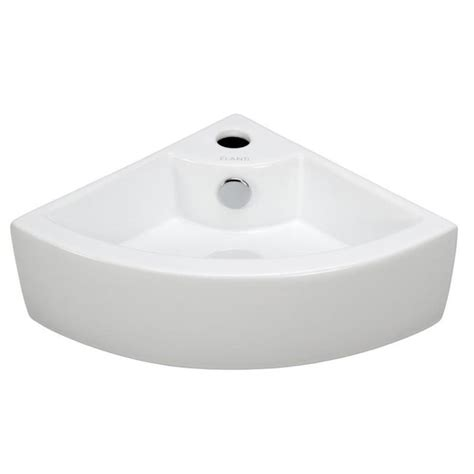 Elanti Wallmounted Corner Bathroom Sink In Whiteec9808