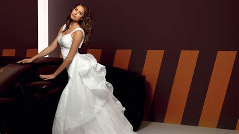 full hd wallpaper irina shayk white evening dress long