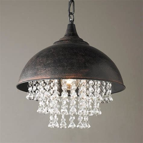 metal dome pendant with crystals pendant lighting by