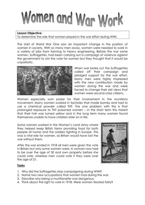 Ww1 Worksheets Kidz Activities
