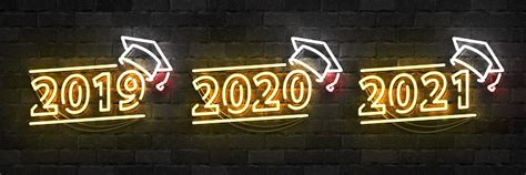 vector set  realistic isolated neon sign  graduation logo      years
