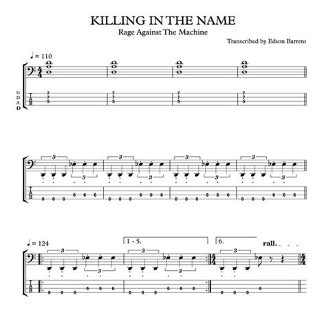 Rage Against the Machine Killing in the Name Bass Tab
