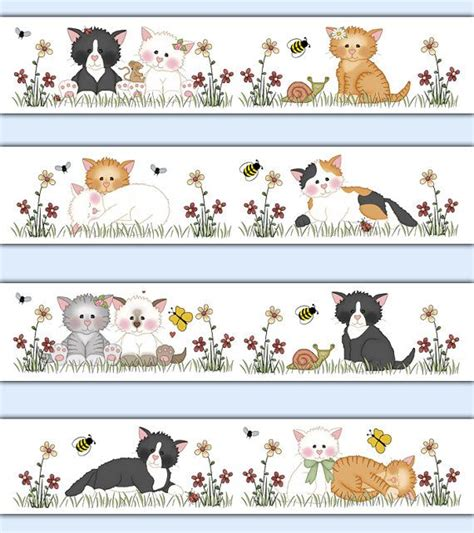 cat wallpaper border decal wall art girl nursery farm