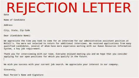 rejection letter template may 2015 sles business letters