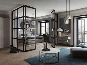 cloisonner avec une verriere style atelier frenchy fancy With salle de bain design avec décorer une porte intérieure