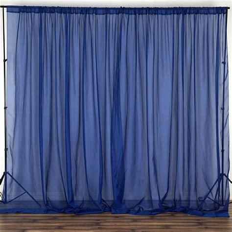 ft fire retardant navy sheer voil curtain panel backdrop