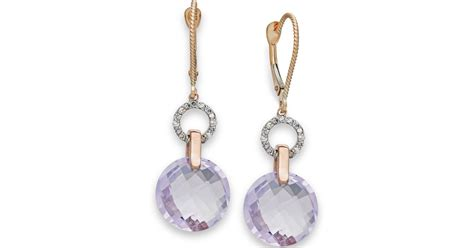 Macy's Pink Amethyst (10-5/8 Ct. T.w.) And Diamond (1/6 Ct. T.w.) Earrings In 14k Rose Jewelry Exchange In Tustin Yonge St Tsutsumi Online Shop Nl Edgewater Secaucus Nj Classes Free Complaints
