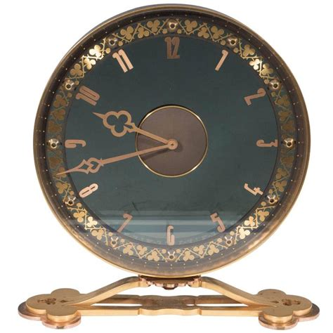 jaeger lecoultre table clock jaeger lecoultre desk clock in gilded smoked glass at 1stdibs