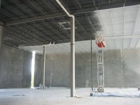 interior warehouse ceiling decking spray painting of