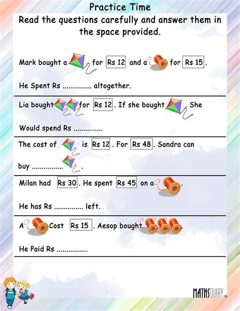word problems grade 2 math worksheets