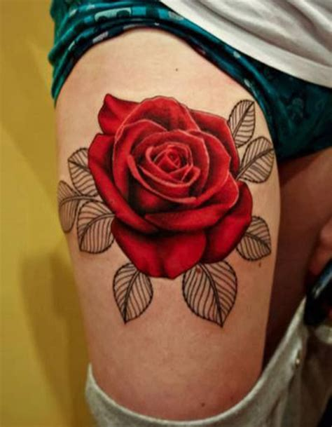Amazing Red Rose Tattoo On Right Thigh