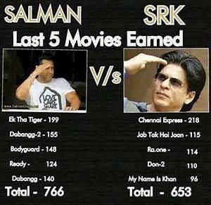 Salman Khan vs ShahRukh Khan - Last 5 films   3757813 ...