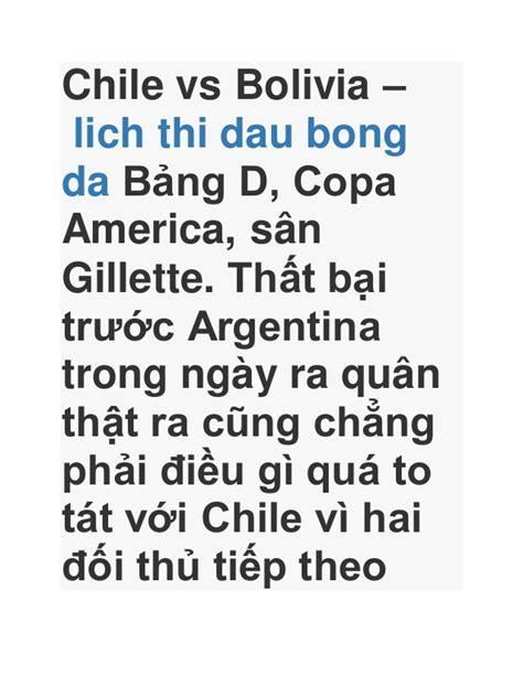 ket qua bong da truc tiep xsmb chile vs bolivia