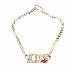 hot lips kiss letter gold women necklace crystal chain With letter chain necklace