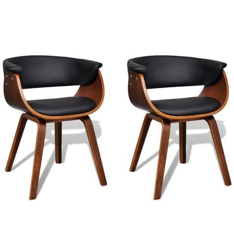 2 chaises de cuisine salon salle 192 manger design noir bois et cuir 1902045