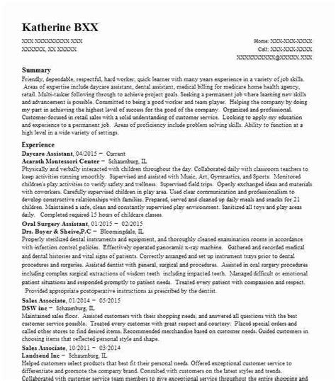 Daycare Assistant Resume by Daycare Assistant Resume Sle Caregiver Resumes