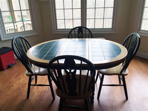Furniture   Oblong Green Tile Top Kitchen Table With 4